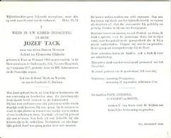 Doodsprentje Tack Jozef   19-03-1914 Eine07-08-1977 OudenaardeZoon Van Achiel Tack En Clementia Ghijsels - Todesanzeige
