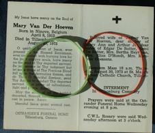 Doodsprentje De Sutter Mary: ° Ninove, 1915, + Tillsonburg, Ontario, 1973. Echt. Van Arthur Van Der Hoeven - Religione & Esoterismo