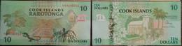 Cook Islands 10 Dollars 1992 P 8 Lizard Tree UNC - Cook Islands