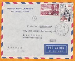 1957 - Enveloppe Par Avion De Saint Benoit, Réunion CFA Vers Nanterre, France - Basket Et Région Bordelaise - Brieven En Documenten