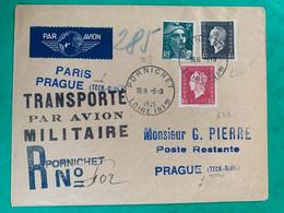 No 696 691 Et 713 Sur Enveloppe Transportée Par AVION MILITAIRE Recommandé Pornichet 1945 Vers PRAGUE Marcophilie TTB - Militaria