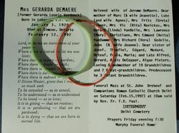 Doodsprentje Verdonck Gerarda Leonie: ° Lokeren, 1920, + Simcoe Ontario, 1992. Echt. Jerome Demaere - Religion & Esotérisme
