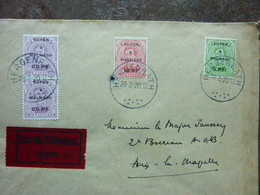 1920  Lettre 4 Timbres  EUPEN MALMEDY   Cachet HERGENRATH   PERFECT - Covers & Documents