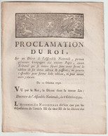 1790, Proclamation  Du Roi Sur Un Décret De L'Assemblée Nationale ...Juges...Tribunal... - Décrets & Lois