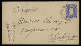 TREASURE HUNT [00814] Chile 1903 Columbus 5c Blue Postal Envelope Sent Within Santiago, Ambulant Postmark On Stamp - Chili