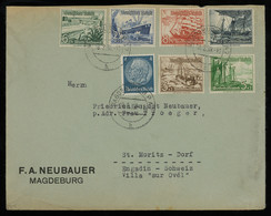 TREASURE HUNT [00859] Germany 1938 Cover From Magdeburg To St. Moritz, Switzerland With Winter Help+Hindenburg Stamps - Briefe U. Dokumente