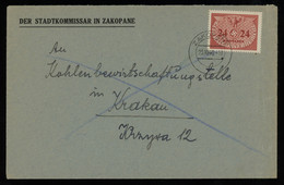 TREASURE HUNT [00876] General Gouvernment 1940 Off. Cover From Zakopane To Cracow Franked With 24 Gr Single Franking - Generalregierung