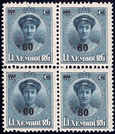 Luxembourg / Luxemburg 1928 Charlotte Face Bloc 4x 60/75c. Surcharge Neuf MNH** - 1921-27 Charlotte Voorzijde