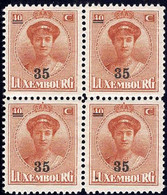 Luxembourg / Luxemburg 1928 Charlotte Face Bloc 4x 35/40c. Surcharge Neuf MNH** - 1921-27 Charlotte Voorzijde