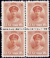Luxembourg / Luxemburg 1921 Charlotte Face Bloc 4x 40c.  Neuf MNH** - 1921-27 Charlotte Voorzijde