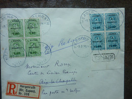 1920  Lettre 8 Timbres  EUPEN MALMEDY Cachet HERGENRATH   PERFECT - Covers & Documents