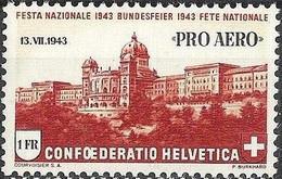 Schweiz Suisse 1943: PRO AERO 13.VII.1943 ALPENFLUG OSKAR BIDER Zu F36 Mi 422 Yv PA35 ** MNH (Zu CHF 6.00) - Neufs
