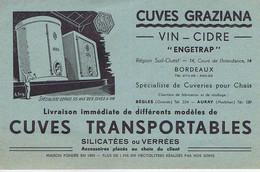GIRONDE - BORDEAUX - BEGLES - AURAY - Cuves GRAZIANA - Vin - Cidre - 14 Cours De L'Intendance - Advertising