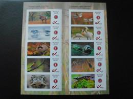 België Belgium 2021 - Fantastic Fauna ( Birds Spoonbill Kingfisher Deer Dragonfly Frog Salamander Badger ) - Unused Stamps