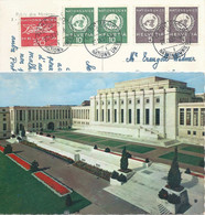 """AK  """"Palais Des Nations, Genève""""  (UNO Mischfrankatur)          1957 - Storia Postale"""