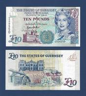 ♛ GUERNSEY - 10 Pounds Nd.(1995 - 2005) {sign. B. Haines} {Prefix #G000631} UNC P.57 D - Guernsey