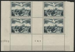 """POSTE AERIENNE N° 20 ** (MNH) COTE 240 €. Bloc De 4 (bas De Feuille) """"Congrès De L' U.P.U. PARIS 1947"""" Voir Description - 1927-1959 Nuovi"""
