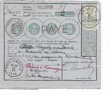 SH 1037. N° 115 ENGHIEN 2.VII.14 S/BON De POSTE 2 Fr (+ COUPON Attaché)-bureau THOLLEMBEEK (17 Et 19.VI) - 1912 Pellens
