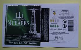 1  ETIQUETTE  De BIERE   LES 3  PHARES   IPA De L'Estuaire ( Voir Description)) - Birra