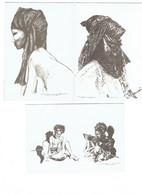 Lot 3 Cpm - ILLUSTRATION - Michel VALLET Femme Touarègue De L'Aïr - Homme Touareg Des Loullemmeden - Enfant - Autres Illustrateurs