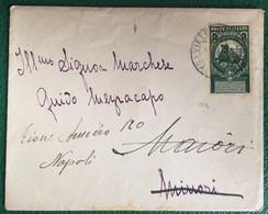 1913- Italia Regno -Busta  Viaggiata Da Vietri Sul Mare Per Napoli - Bollo Con Sovrastampa 2 C. Su 5 C. - 113 - Storia Postale