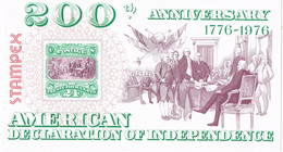 41600. Viñeta Cinderella, Label 200 Anniversary AMERICAN Declaration Independence 1976 - Varietà, Errori & Curiosità