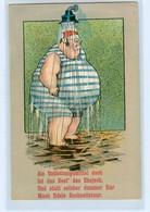Y4867/ Dicker Mann Unter Der Dusche   Litho Ak HUmor Ca.1910 - Humor