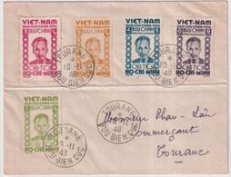 1946 - VIETNAM - SERIE HO-CHI-MINH AFFRANCHISSEMENT PHILATELIQUE à TOURANE BUU DIEN CUC Sur ENVELOPPE COMPLAISANCE - Vietnam