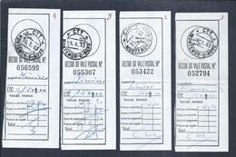 4 Recibos De Envio De Vales Postais De Montemor-o-Novo Para Vimioso Em 1963. Receipts For Sending Postal Orders Montemor - Covers & Documents