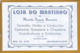 Recibo Da Loja Do Martinho Rua De Avís, Montemor-o-Novo De 1964. Receipt From The Store Martinho Rua De Avís, Montemor - Portugal