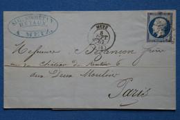 ¤14 FRANCE BELLE LETTRE 1862  METZ  POUR  PARIS + N 14 BLEU FONCE+AFFRANCH . INTERESSANT - 1853-1860 Napoléon III.