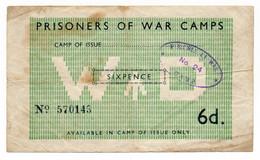 P.O.W. // Bon De Prisonnier De Guerre // CAMP N° 24 // SIX PENCE - Bonds & Basic Needs
