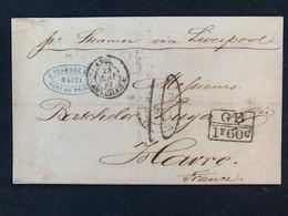 France GB 1f60 C Sur Lettre Taxée De Haïti Mai 67 + Cachet De Passage «liverpool Ship» Au Verso Pour Le Havre / Mariti - 1849-1876: Klassieke Periode