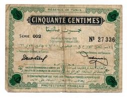 1918 // REGENCE DE TUNIS // Cinquante Centimes - Bonds & Basic Needs