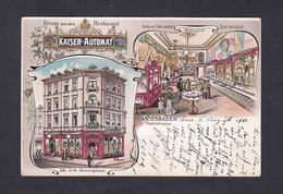 Rare AK  Wiesbaden Carte Chromo Lithographie Gruss Aus Dem Restaurant Kaiser Automat Meininghaus Marktstrasse   48329 - Wiesbaden
