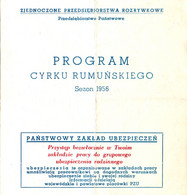 PUBLICITÉ / ADVERTISING - CIRQUE ROUMAIN En POLOGNE / ROMANIAN CIRCUS In POLAND - DÉPLIANT / PROGRAMME 1956 (ah798) - Circus