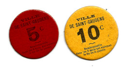 1914-1918 // HAUTE-GARONNE // VILLE De SAINT-GAUDENS // 5 & 10 Centimes - Bons & Nécessité