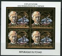 TCHAD Exploitation Ressources Espace Space 1983 Gold Foil MICHEL 960 A Perf - Tchad (1960-...)