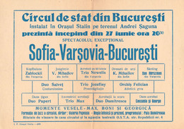 PUBLICITÉ / ADVERTISING - ROMANIA : CIRQUE De BUCAREST / STATE CIRCUS Of BUCHAREST - AFFICHE / POSTER ~ 1957 (ah802) - Circus