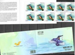 VIETNAM, 2020, MNH, BIRDS, KINGFISHERS, FROGS, BOOKLET OF 10v - Sonstige