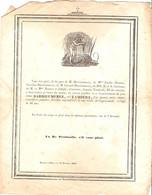 Vieux Papier De 1850, Guadeloupe, Faire-part De Décès De Mme Darrieumerez, Pointe-à-Pitre, Carassus, Bonnet, Béarn - Avvisi Di Necrologio