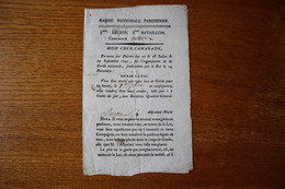 Revolution Garde Nationale Parisienne 1791 Convocation D'un Garde  Signature De L'officier - Historical Documents