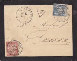 Lettre Taxée (timbre Taxe Banderole 30c Rouge N° 33) De St Ouen Les Parey Le 17/4/97 Sur 15c Sage Pour Toul - 1859-1955 Covers & Documents