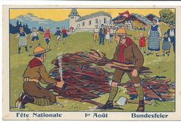 Fête Nationale, Bundesfeier, 1er Août, 1. August. Scouts Et Feu. Pfadfinder Und Feuer. Esploratori E Fuoco. Non Circulée - Unclassified