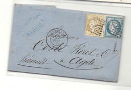 Affranchissement Au 2e Echelon De Poids. 1874. MARSEILLE Pour AGDE (YT60B) - 1849-1876: Periodo Classico