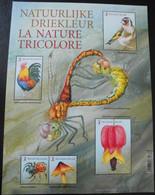 België Belgium 2021 - Belgische Driekleur / Belgian Colours In Nature ( Spider Bird Rooster Flower Mushroom Dragonfly ) - Unused Stamps