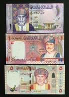 OMAN SET 1, 1, 5 RIALS COMMEMORATIVE BANKNOTES 2005 2010 2015 UNC - Oman