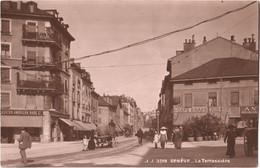 CPA Suisse Genève - La Terrassière TBE Animée 1913 Tramway, Café-Brasserie, Boston American Shoe C°, Magasin De Meubles, - GE Ginevra