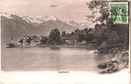 CPA Suisse (Berne) Iseltwald - Bâteau à Vapeur à Quai Sur Le Lac De Brienz/Brienzersee. Au Fond, Le Rothorn TBE 1911 - BE Berne