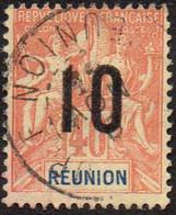 Réunion Obl. N°  77 - Type Groupe Surchargé 10c Sur 40c Rouge Orange - Usati